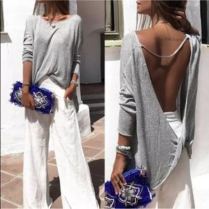 Tops - 🎯SALE 🌟Sexy Open Back Long Sleeve Top